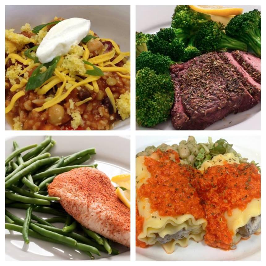 hCG fish, hCG steak, veggie chili, lasagna rolls.