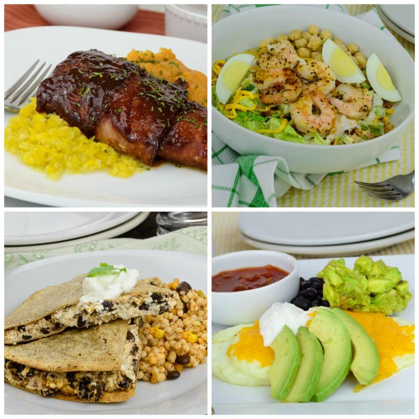 Chicken Wrapped in Turkey Bacon, Lemon Pepper Shrimp Cobb Salad, Huevos Rancheros.