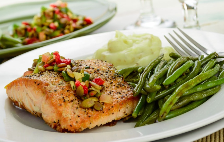 Cedar Plank Salmon with Chipotle Pumpkin Seed Salsa, Goat Cheese Whipped Potatoes, and Roasted Green Beans