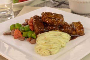 Veggie Riblet with okra medley & whipped potatoes