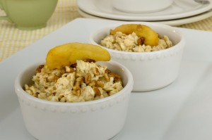 Steel cut oatmeal with apples & walnuts